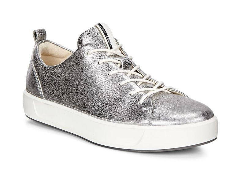 Ecco Women Soft 8 Low 44050301708 Silve Cow Leather size36