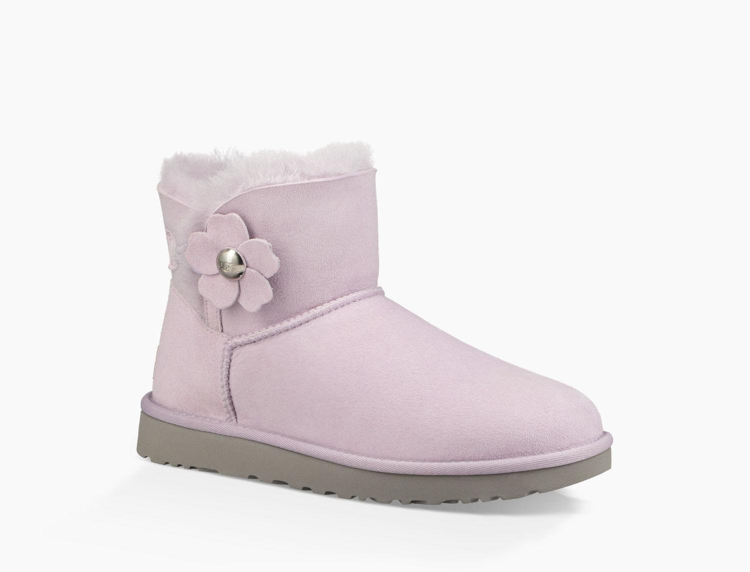 UGG Womens Mini Bailey Button Poppy 1092295 Lavender Size 8